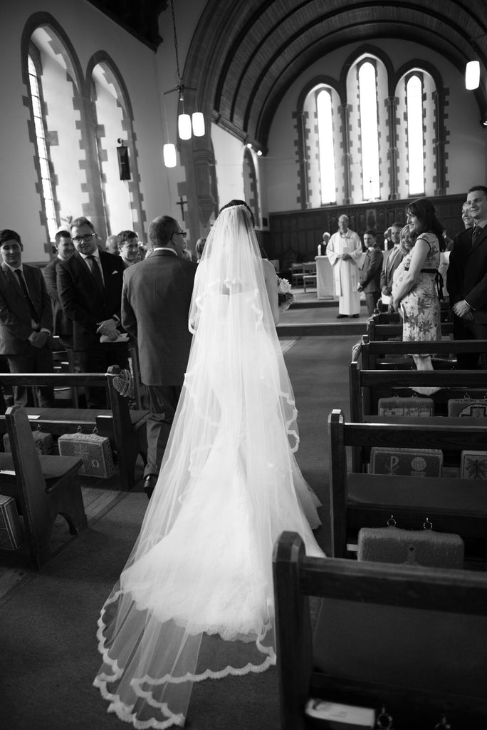 Custom made chapel length wedding veil with lace edge for real Ashley Wild bridal bride Rebecca