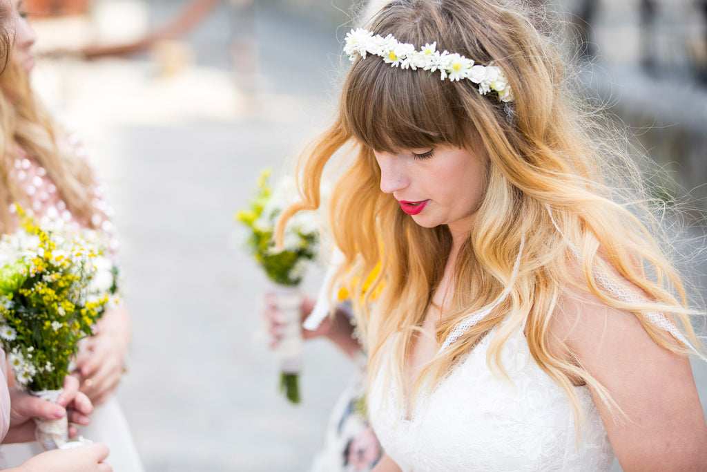 Custom made flower crown garland for Ashley Wild Bridal real bride Keighly