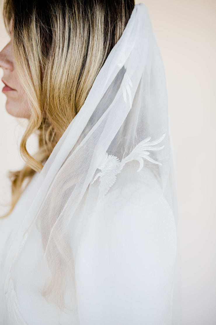 Bird embroidered silk wedding veil