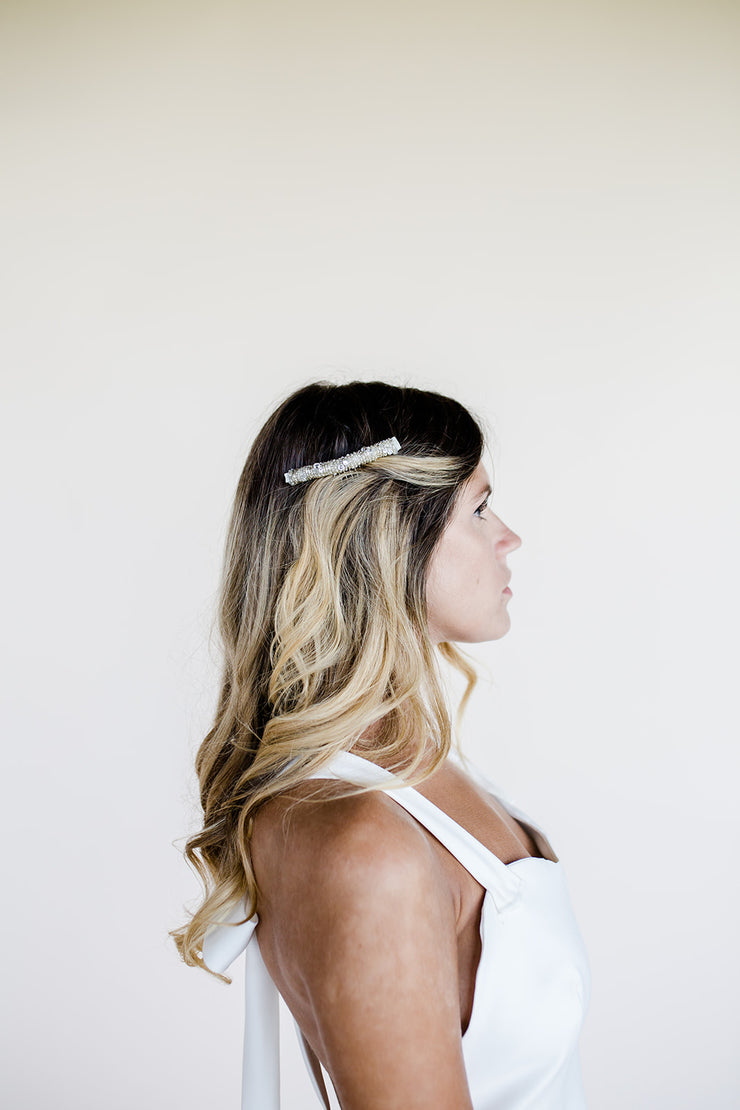 Beaded bridal comb headpiece with mother of pearl stars