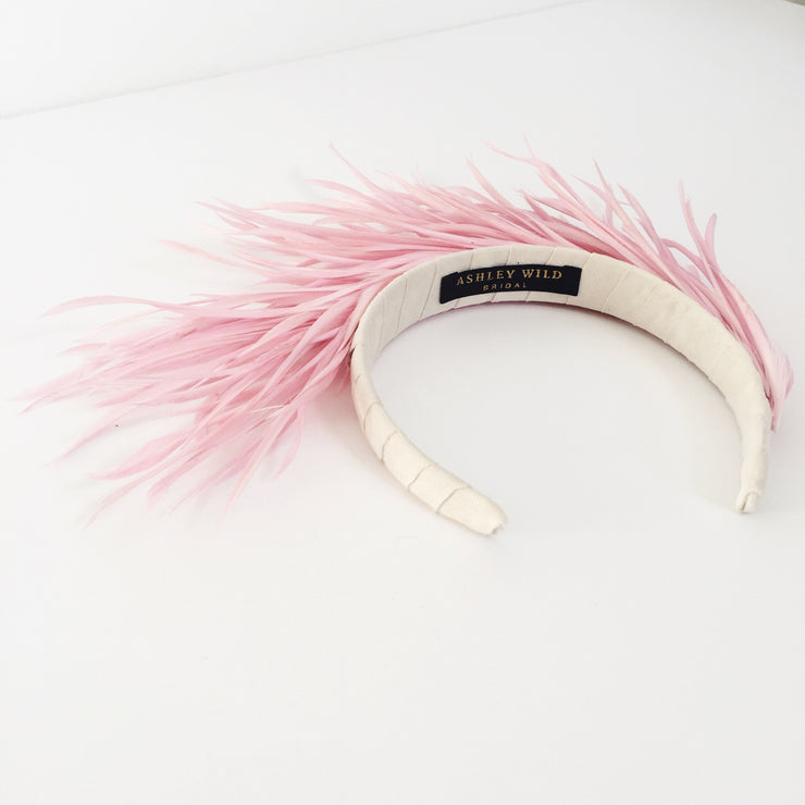 Pink feather headpiece