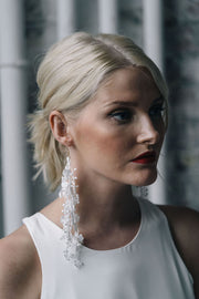 Delicate white lace modern unique bridal earrings