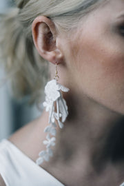 Floral lace bridal earrings with white bugle beads and gold hooks