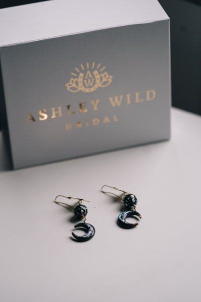 Gold star celestial bridal earrings with black moon charm