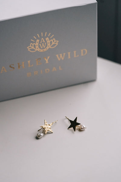 Gold star celestial bridal earrings with pearls
