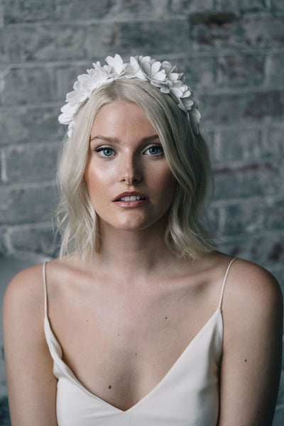 Floral lace flower crown bridal headpiece with daisy pattern and Swarovski crystal