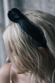 Black veiling turban knot headband headpiece