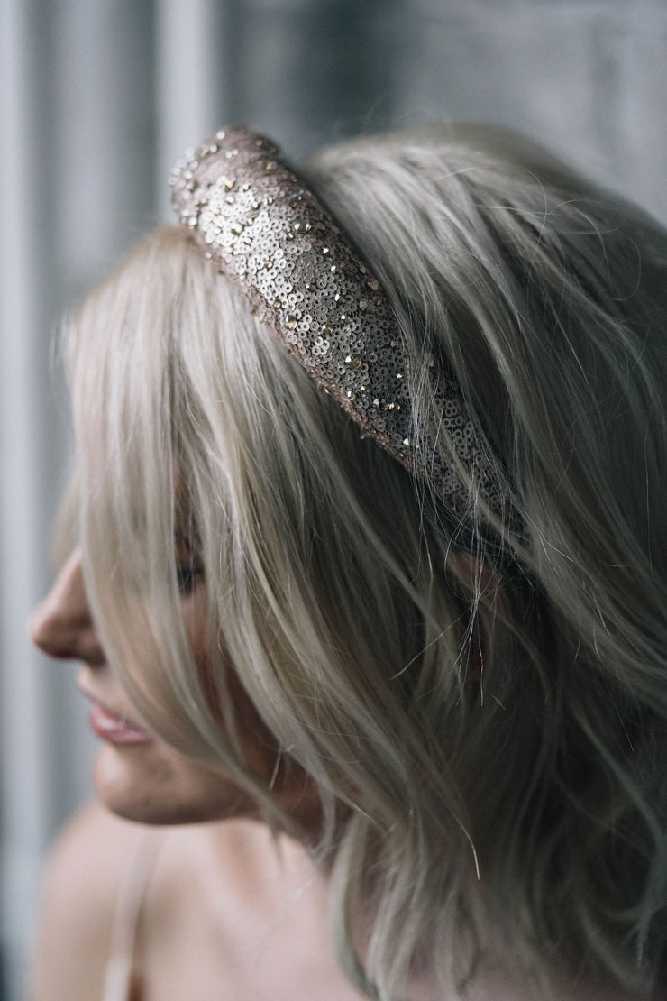 Sequin embellished padded hairband bridal headpiece with Swarovski crystals