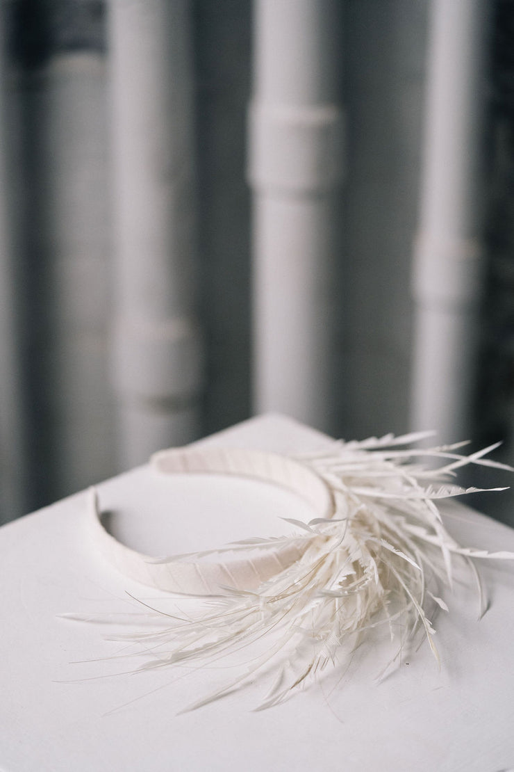 Ivory feather headband modern bridal headpiece