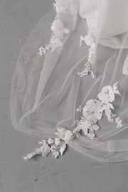 Delicate lace applique bridal veil with Swarovski crystals