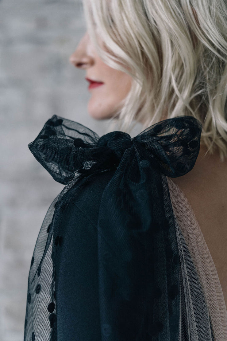 Black bow cape bridal drape veil with polka dots