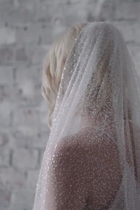 heavily embellished glitter bridal wedding veil full length