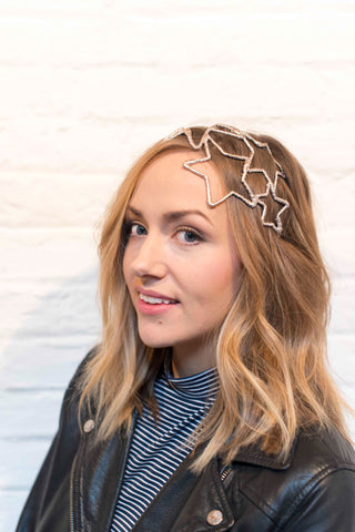 stars wire and leather headpiece in gold