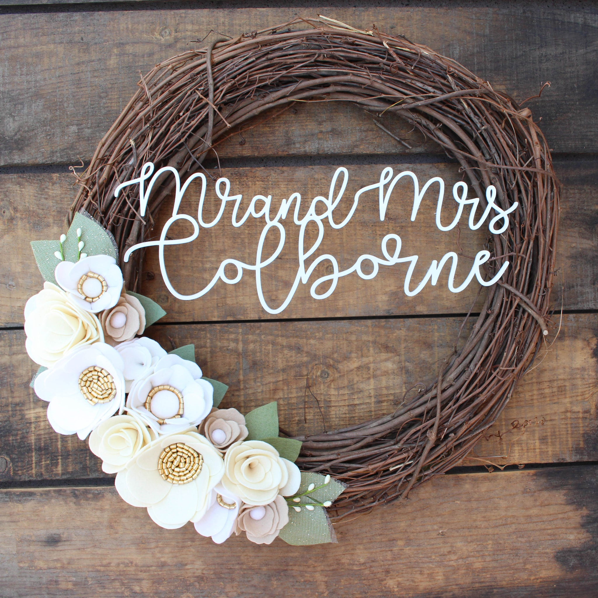 Personalized Wreath + Neutral Felt Flowers // FREE SHIPPING