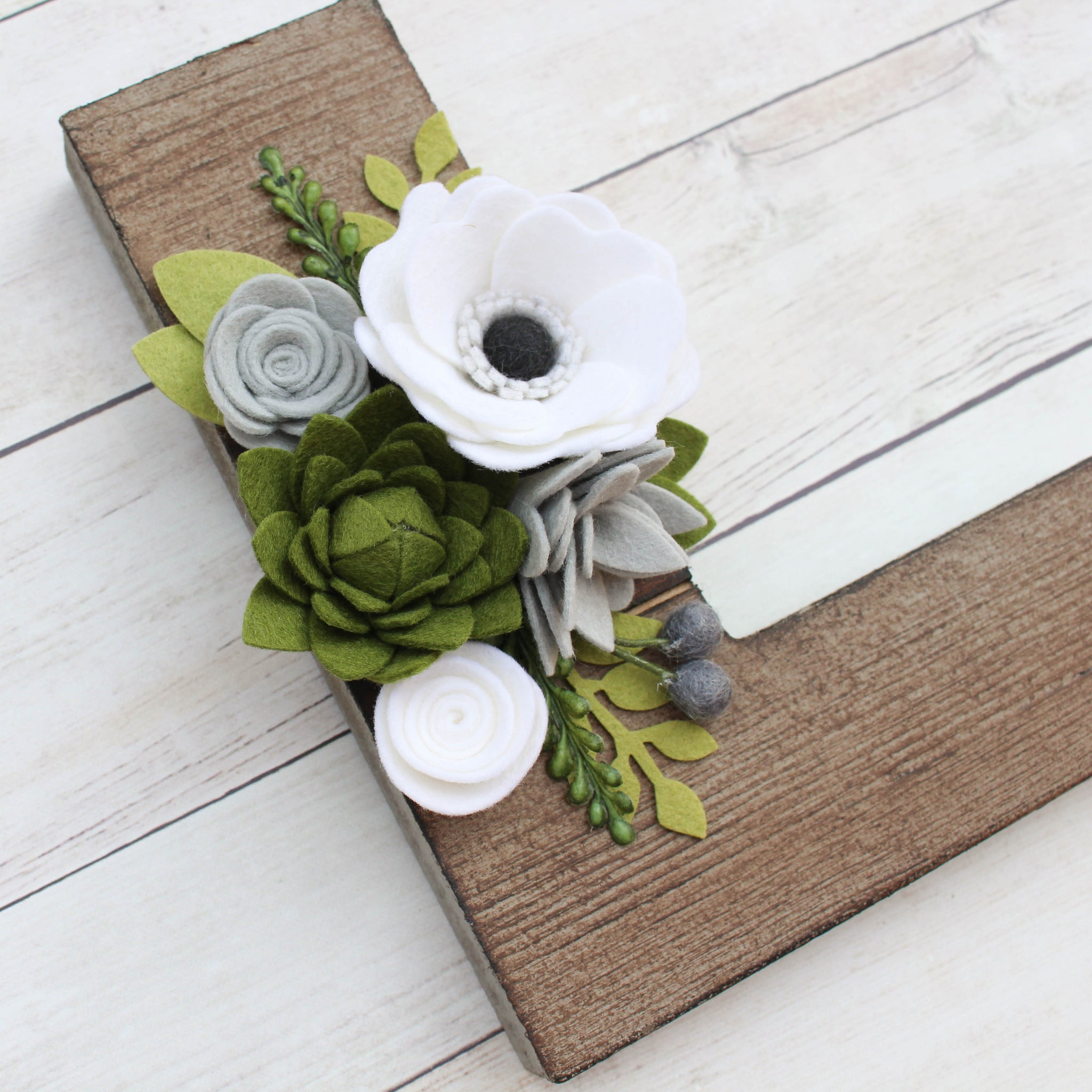 Felt Flower Letter // CHOOSE YOUR COLORS // Brown Style // FREE SHIPPING