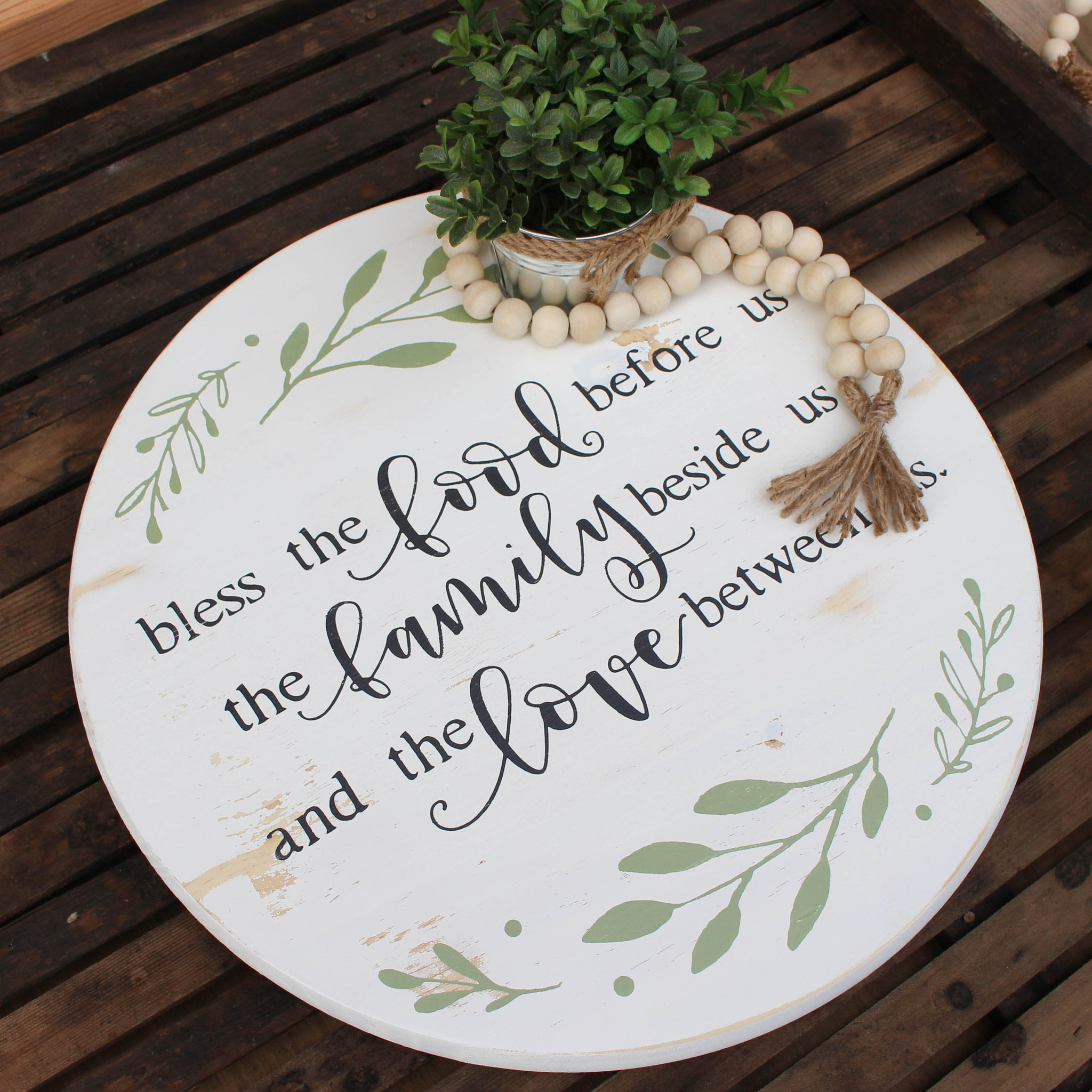 Bless the Food Lazy Susan // Antique White // FREE SHIPPING