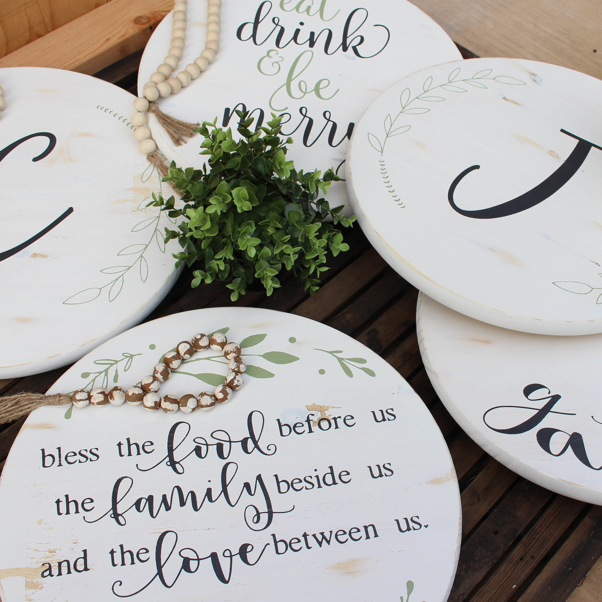 Bless the Food Lazy Susan // Antique White