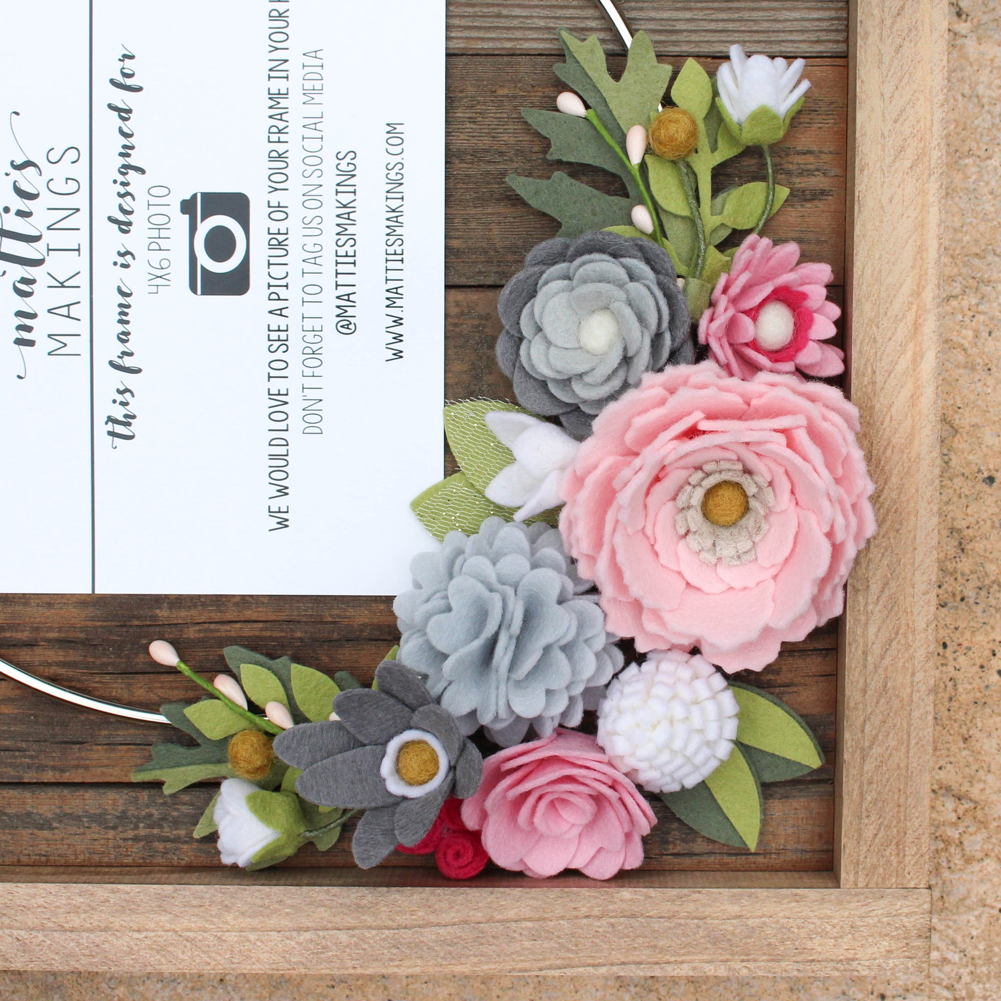 Rustic Ring Floral Frame // FREE SHIPPING // Choose Your Colors