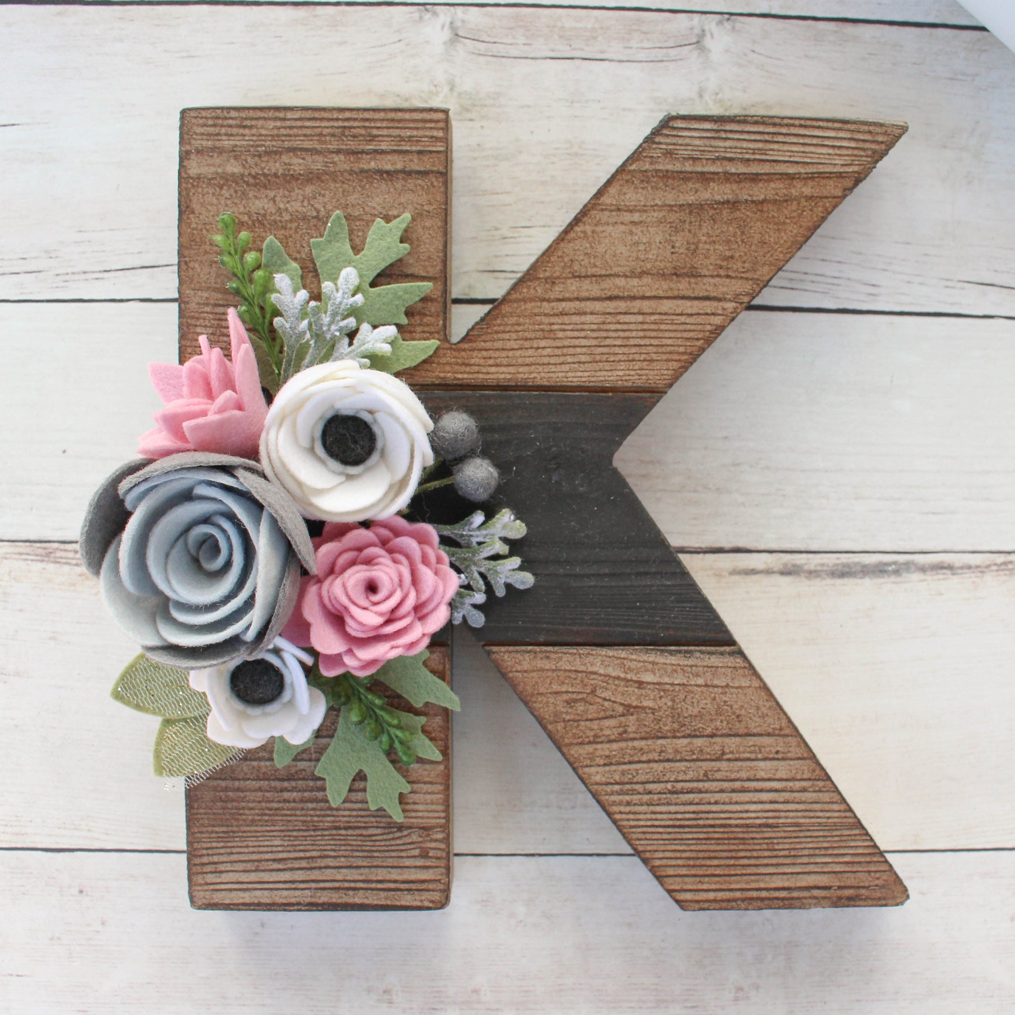 Felt Flower Letter // Brown Style // FREE SHIPPING