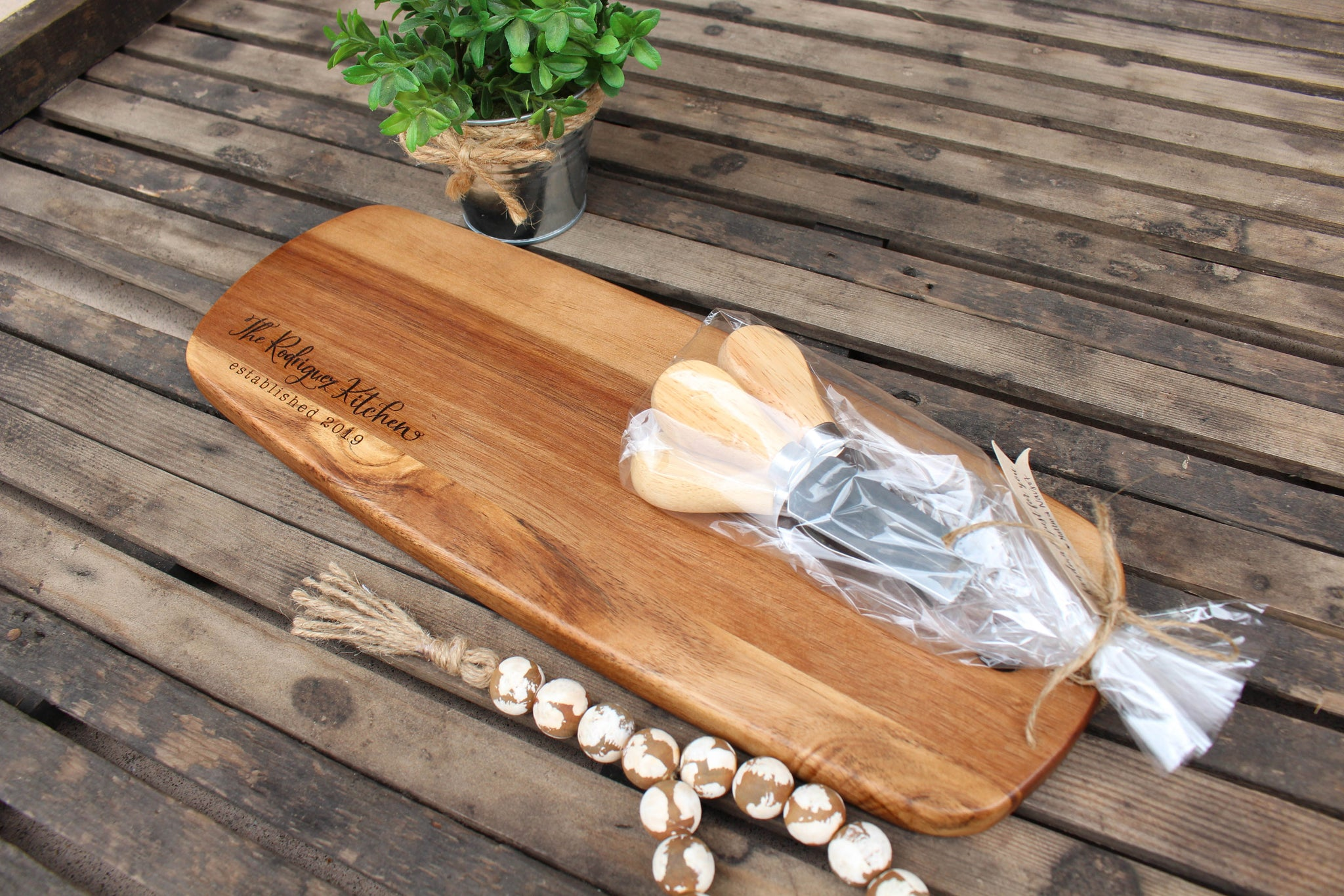 Skinny Cheese Board + Knife Set // Personalized // FREE SHIPPING