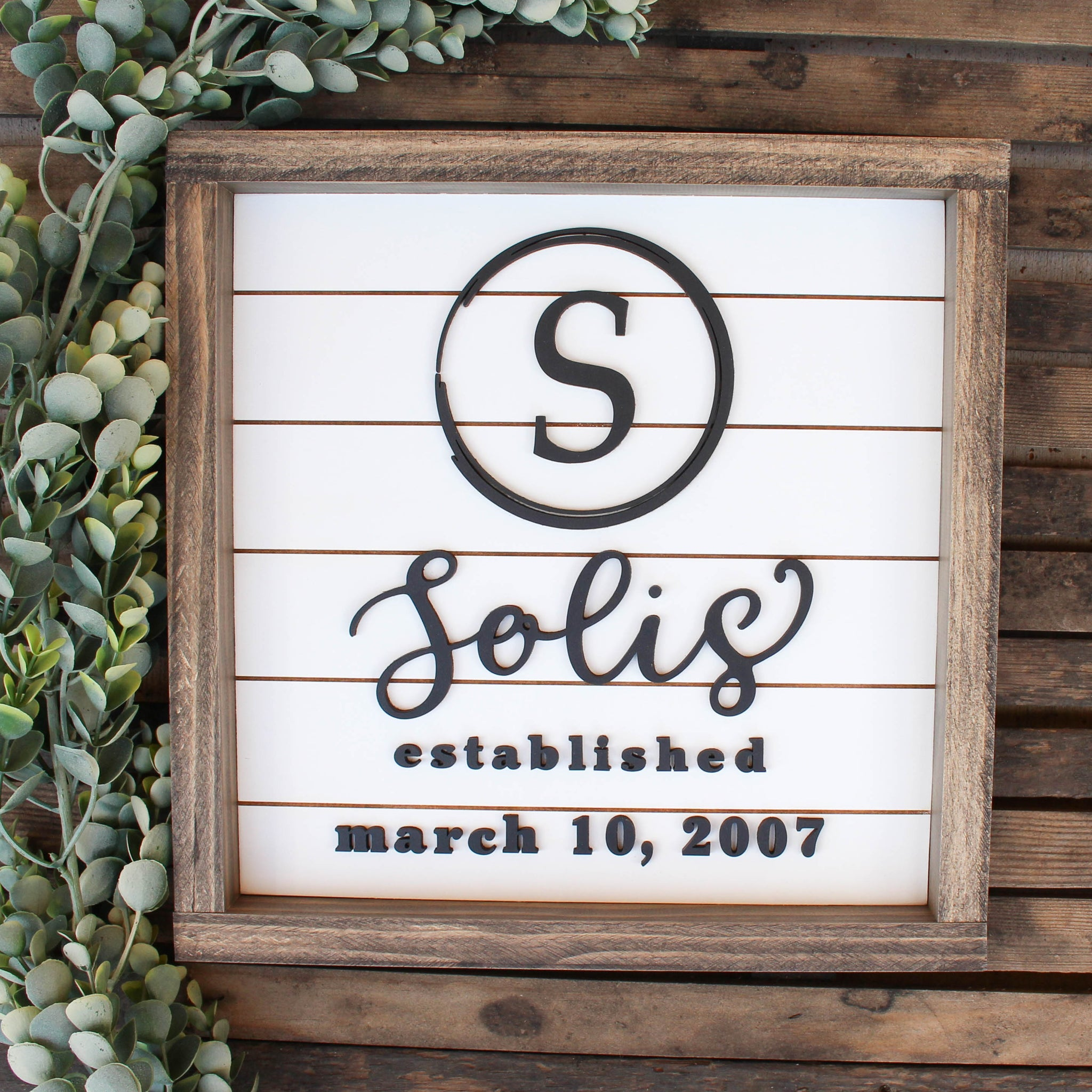 The Taylor: Personalized Last Name 3D Shiplap Sign - White Background
