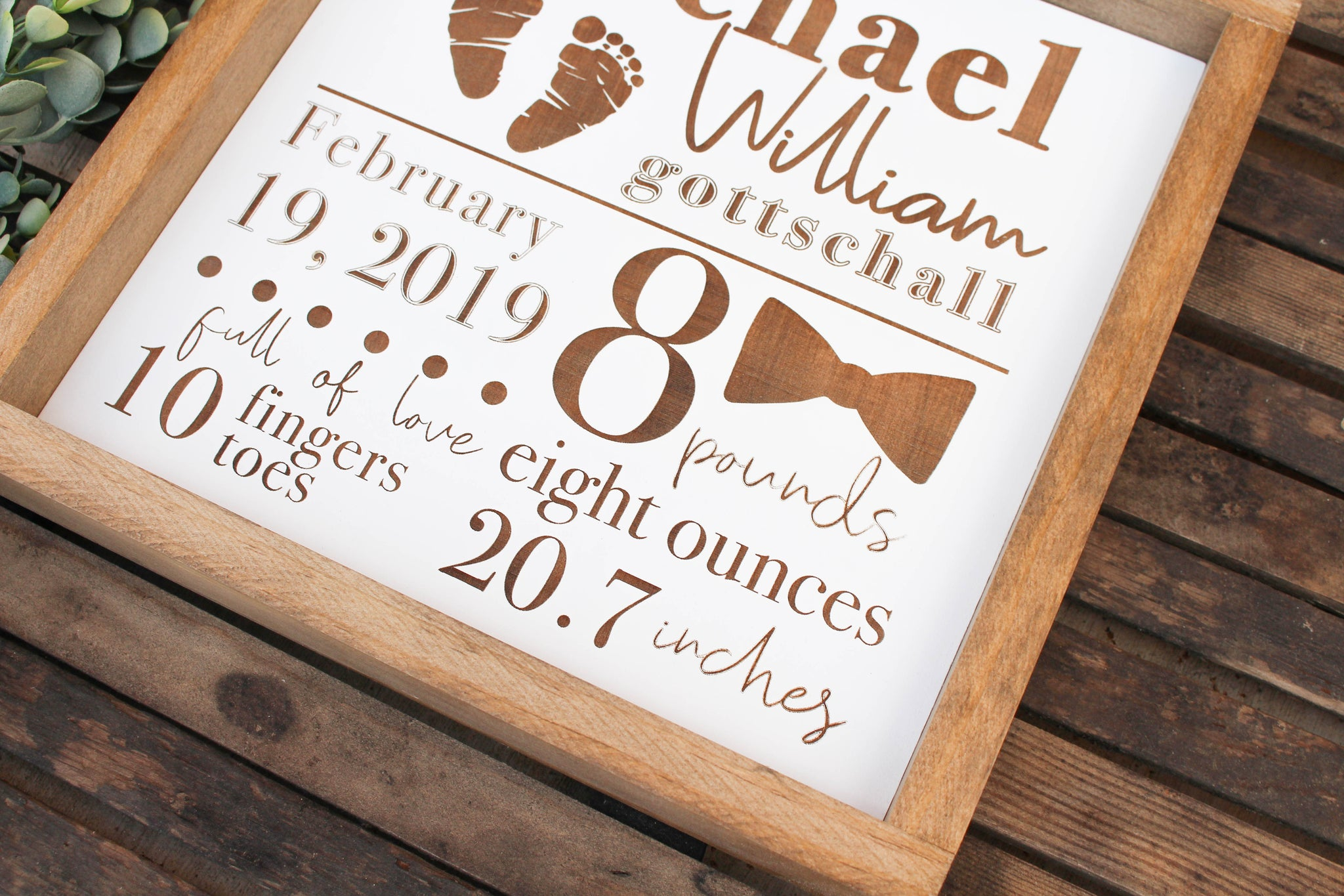 BIRTH STATISTICS WOODEN SIGN / BOY // FREE SHIPPING