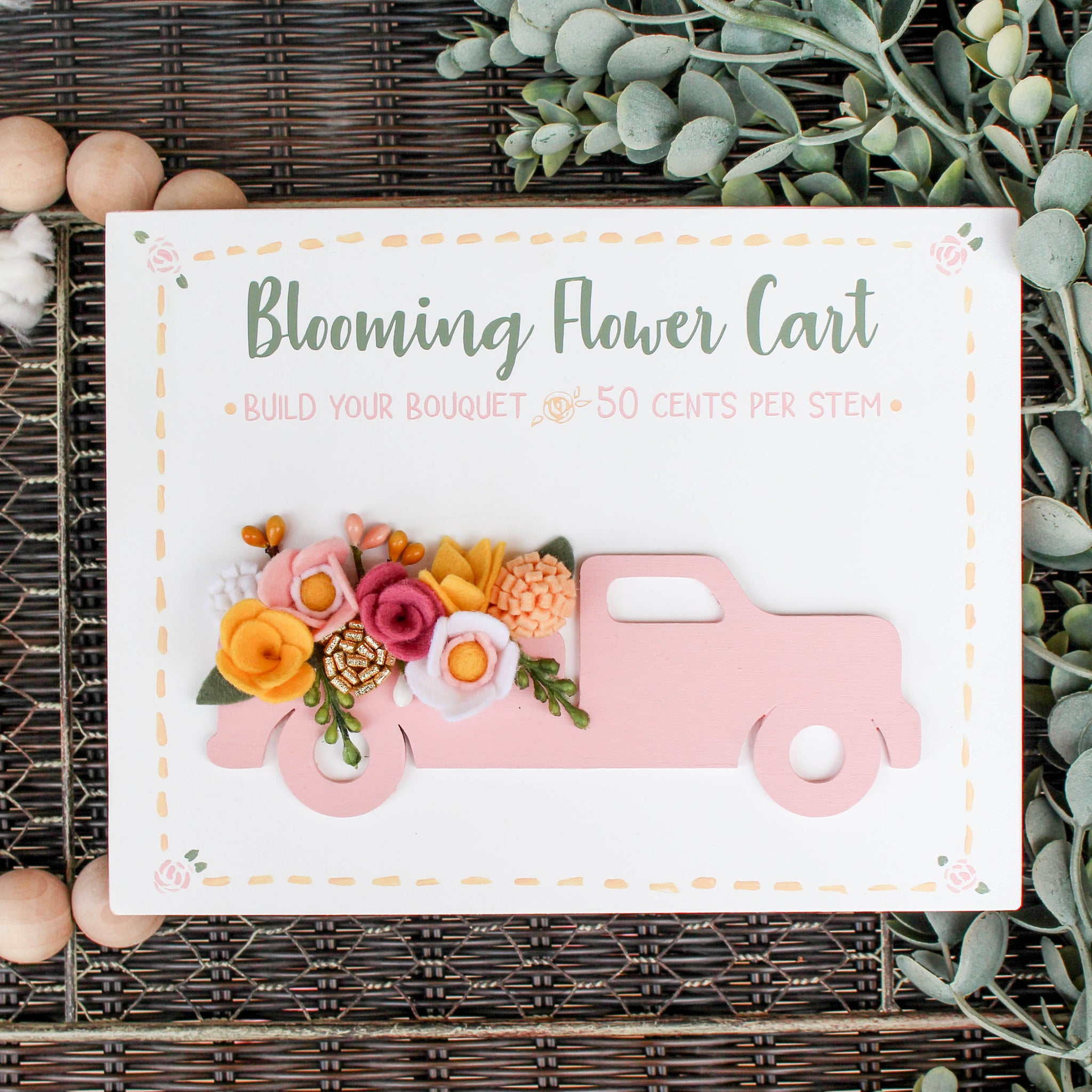 Blooming Floral Truck // FREE SHIPPING // Handmade Felt Flowers