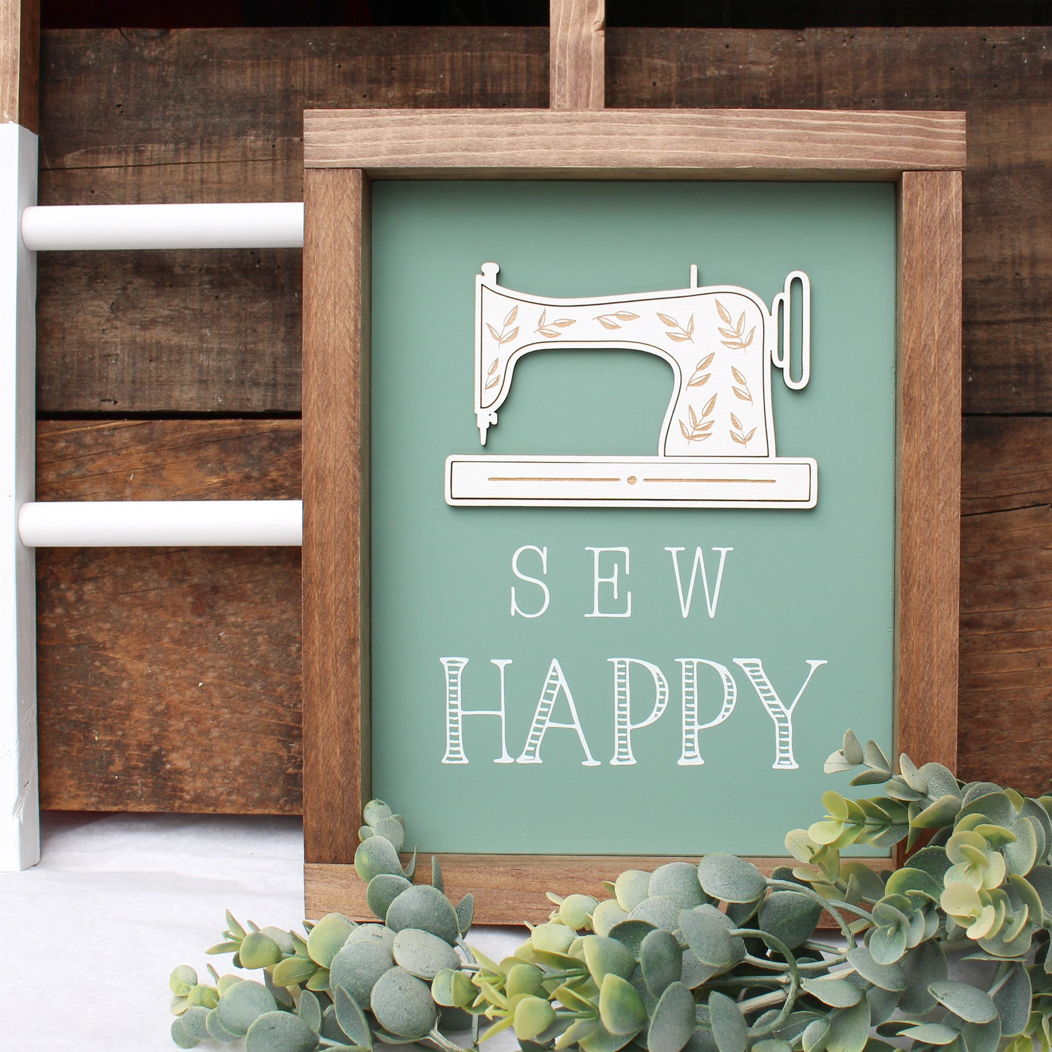 Sew Happy Sign // 3D + Engraved