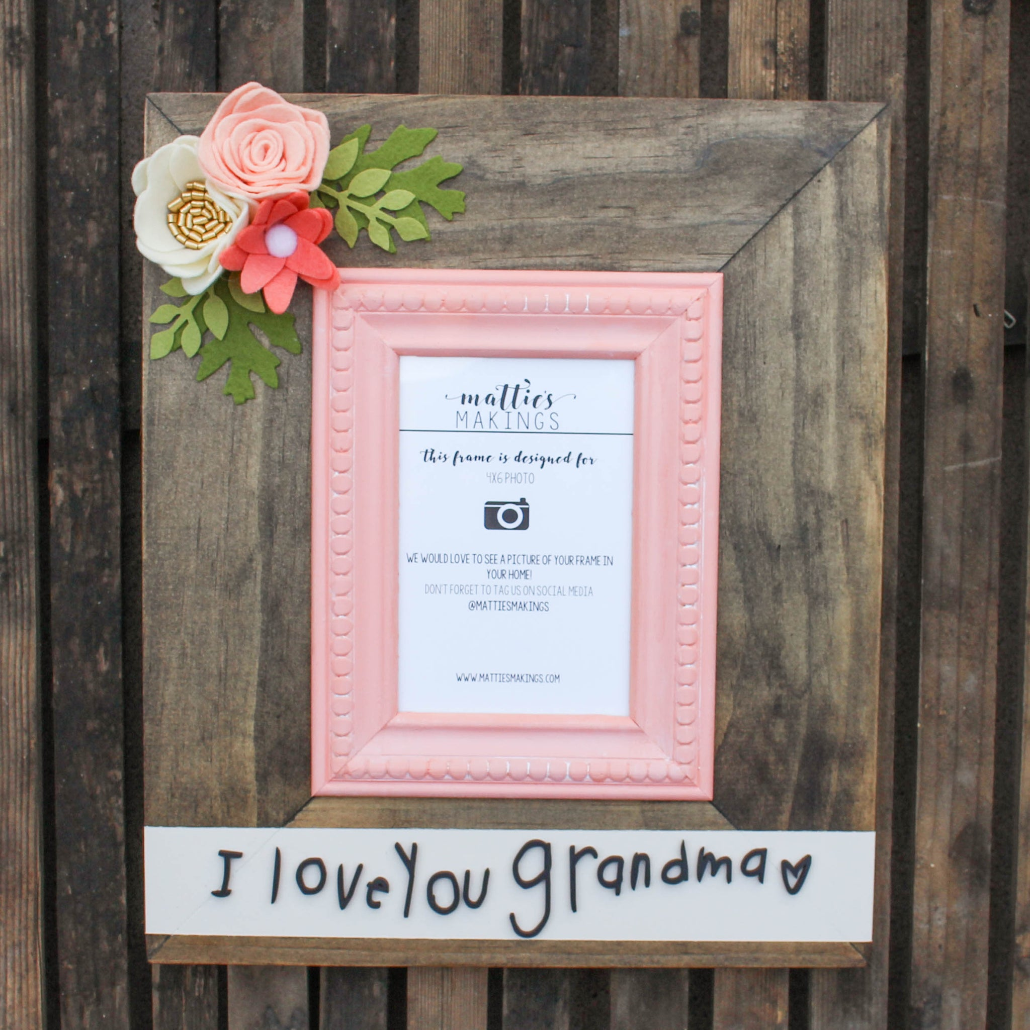 Handwriting Felt Flower Picture Frame // 4x6 Photo Size // Custom Handwriting