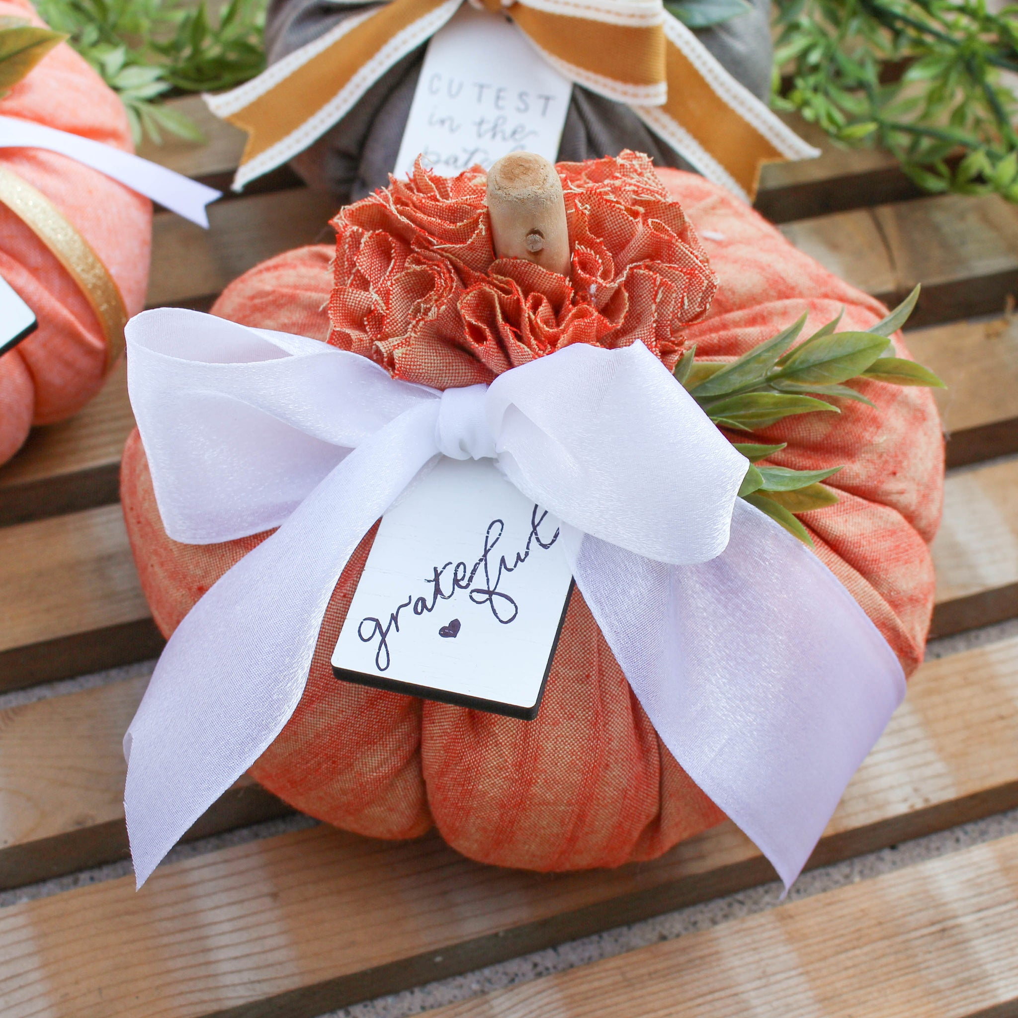 Medium Fabric Pumpkin // Striped Orange