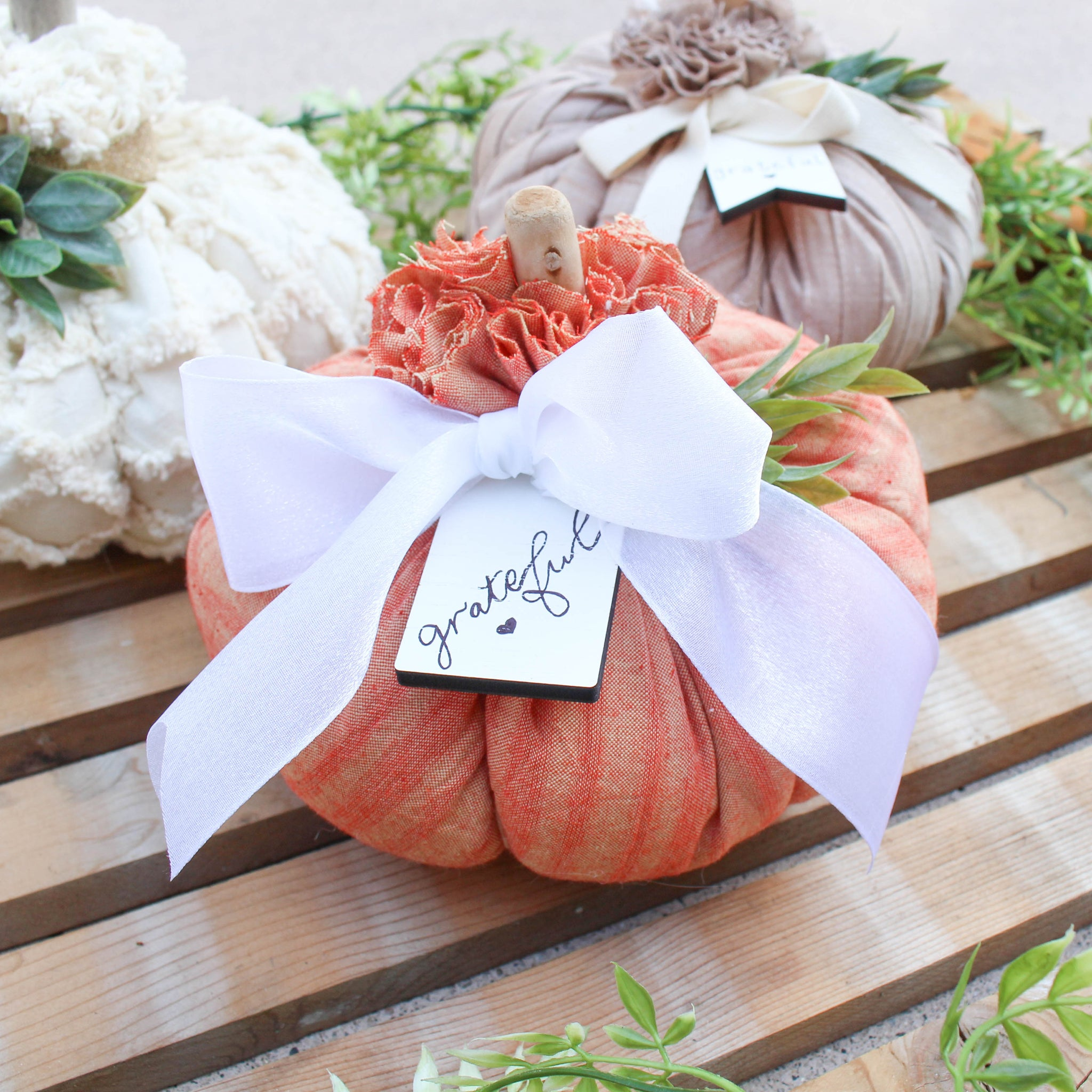 Medium Fabric Pumpkin // Pastel Orange