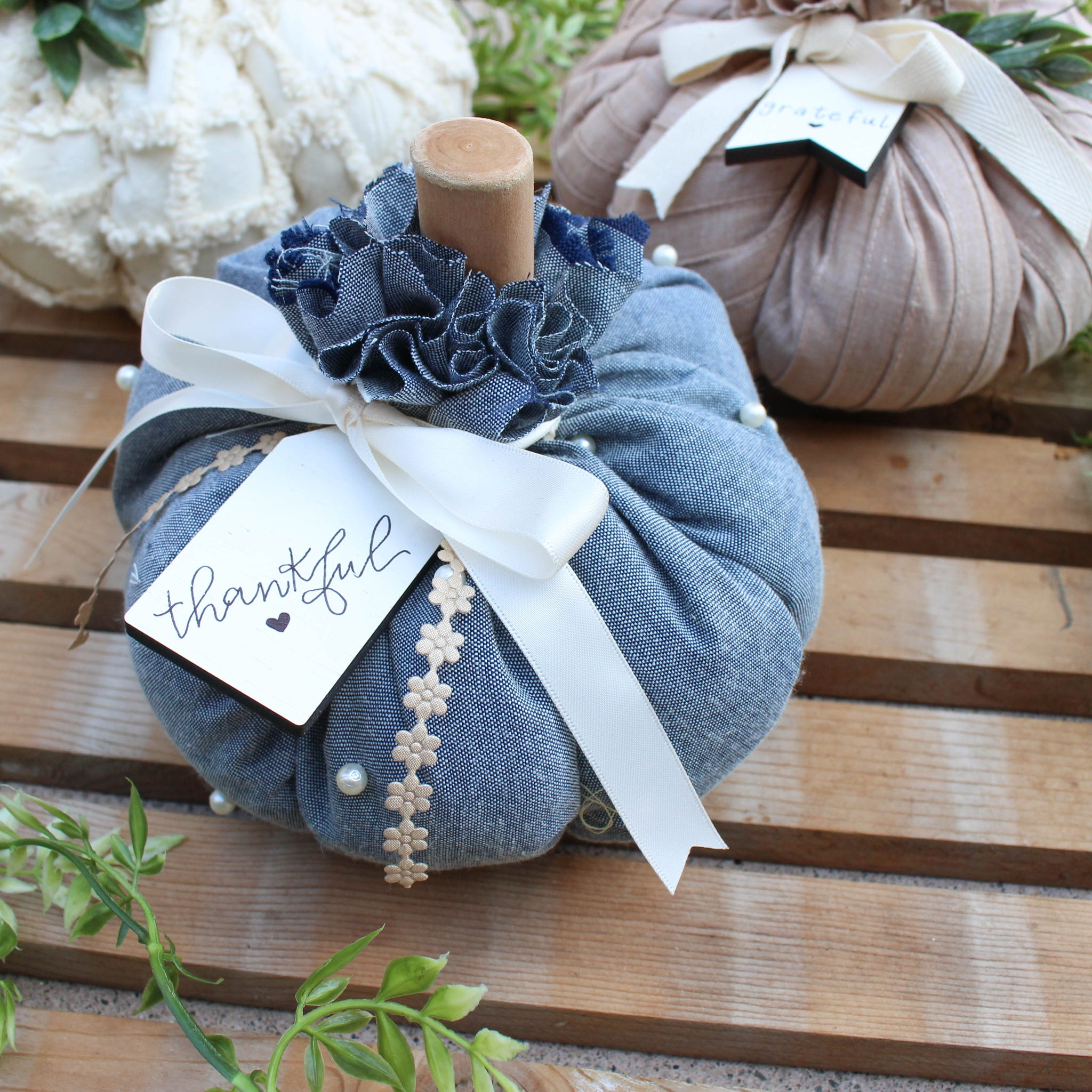 Medium Fabric Pumpkin // Blue with Pearls