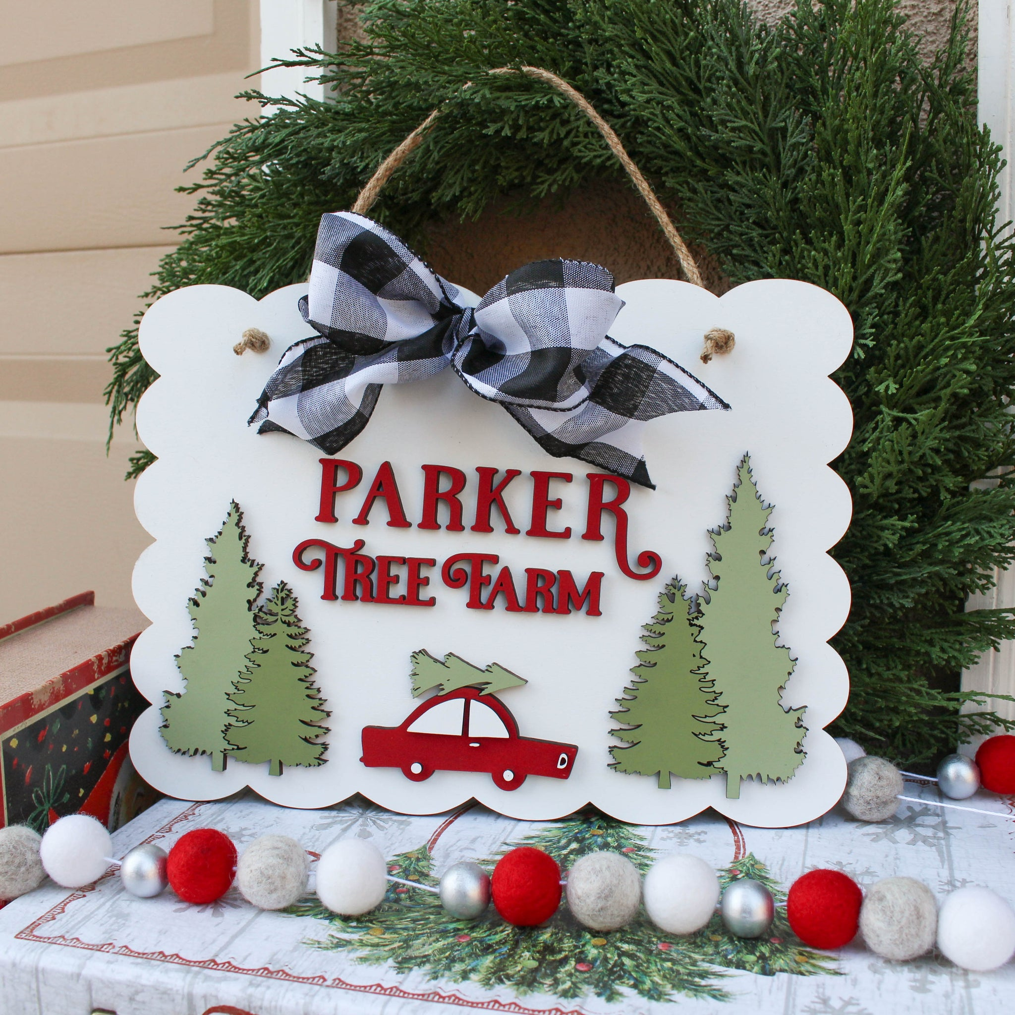 Personalized Door Sign // Tree Farm 3D  // Free shipping