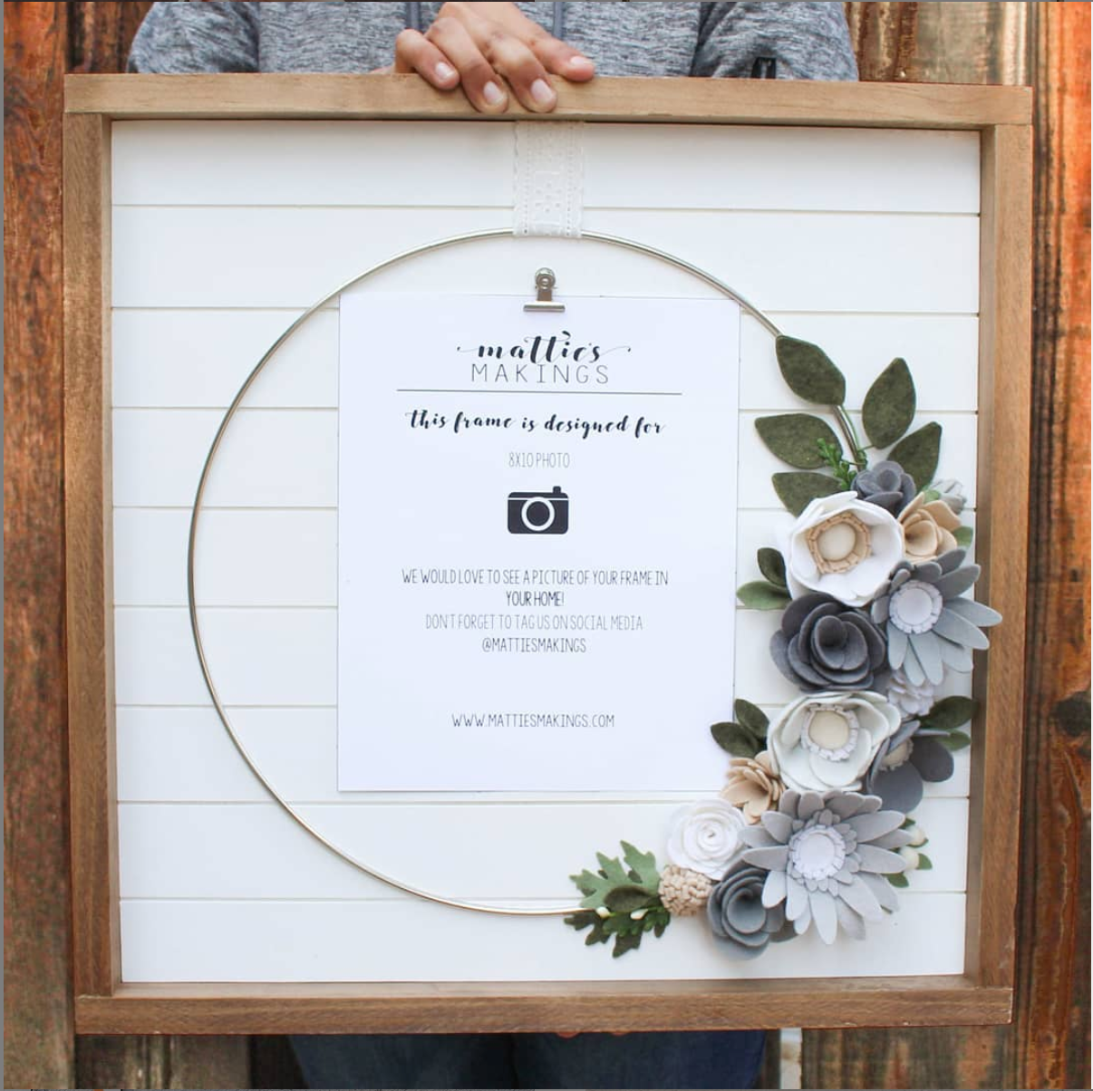 Felt Flower Picture Frame // Ring Frame // FREE SHIPPING