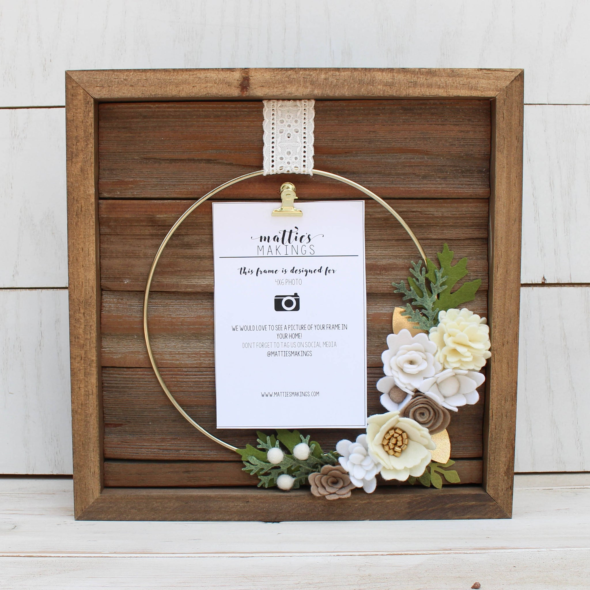 "Small Ring Floral Frame , 4x6 photo (11x11"" overall), modern wreath, felt flower wreath, nursery hoop art, picture frame, floral hoop art"