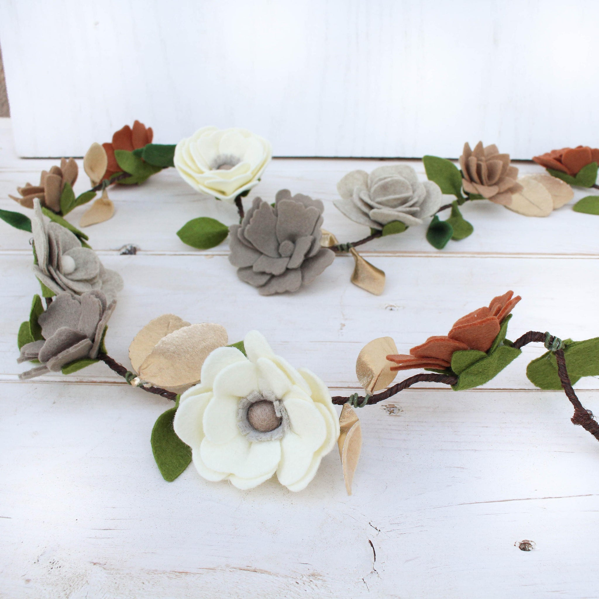 Felt Flower Garland, Vine, Neutral Colors, Felt Flowers, Flower Garland, Newborn Photo Prop, Felt Garland, nursery garland, floral garland