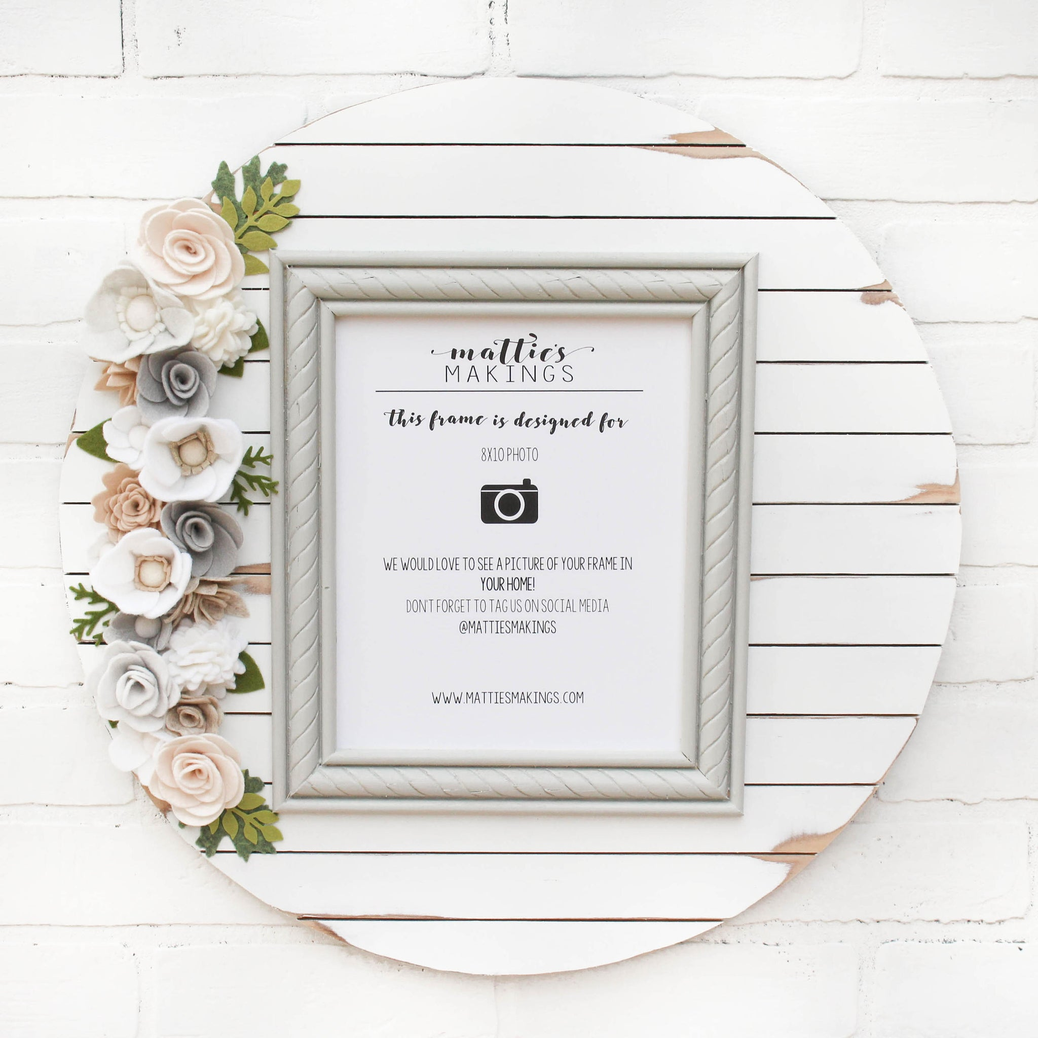 "Felt Floral Shiplap Frame, 19"" in size, 8x10 photo, above the crib ideas, god child keepsake, for daughter in law, sister in law gift"