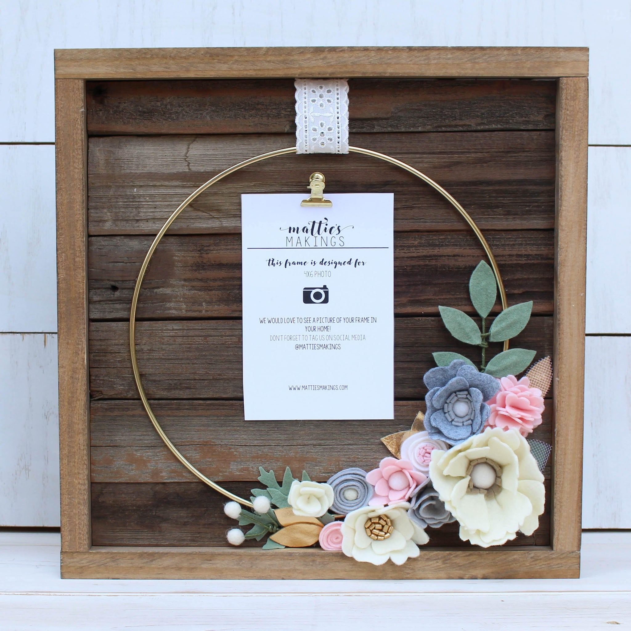 Medium Ring Floral Frame, holds 4x6 vertical photo, nursery hoop art, felt flowers, dorm decor