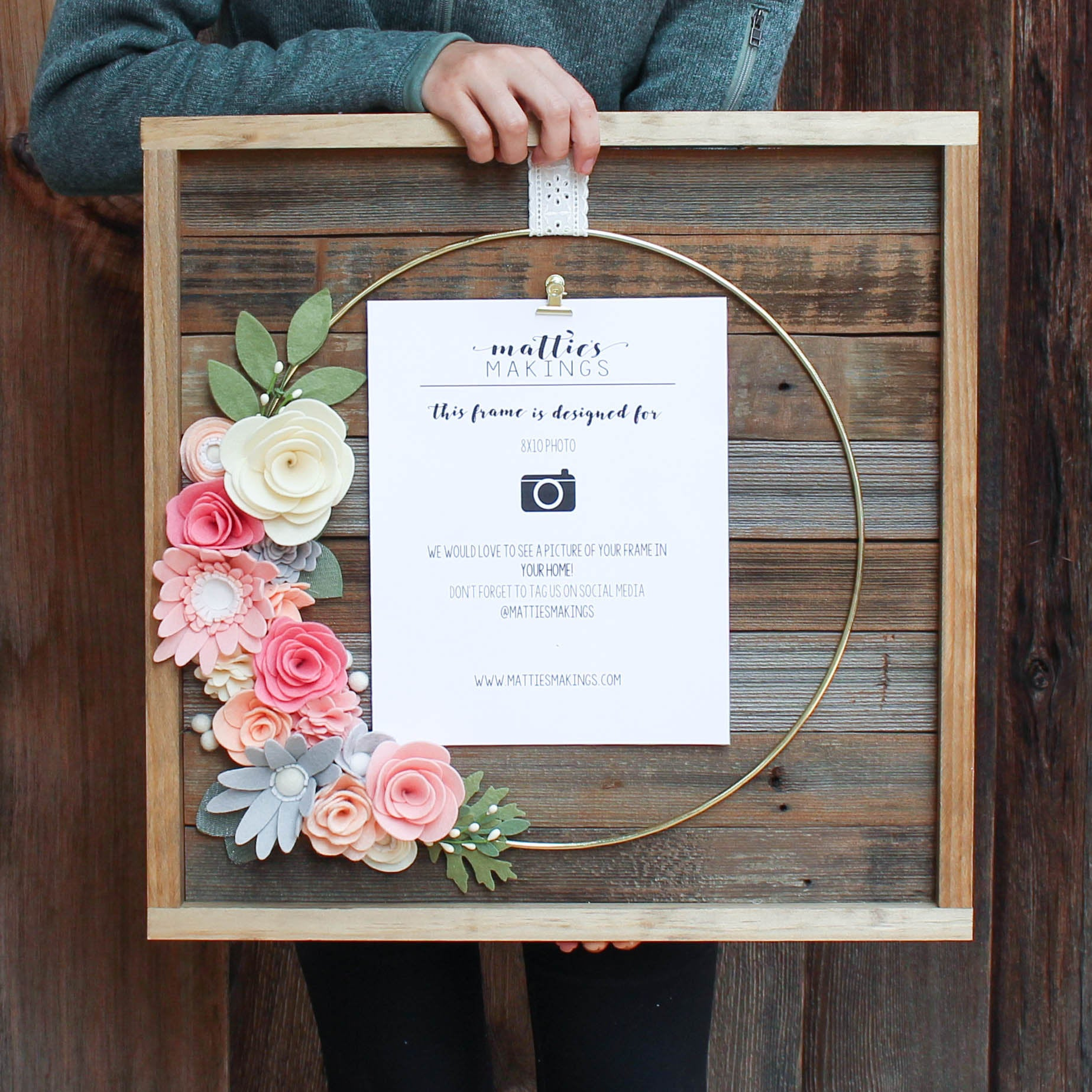 OVERSIZED RING frame, 8x10 picture frame, rustic picture frame, felt flowers, wedding frame