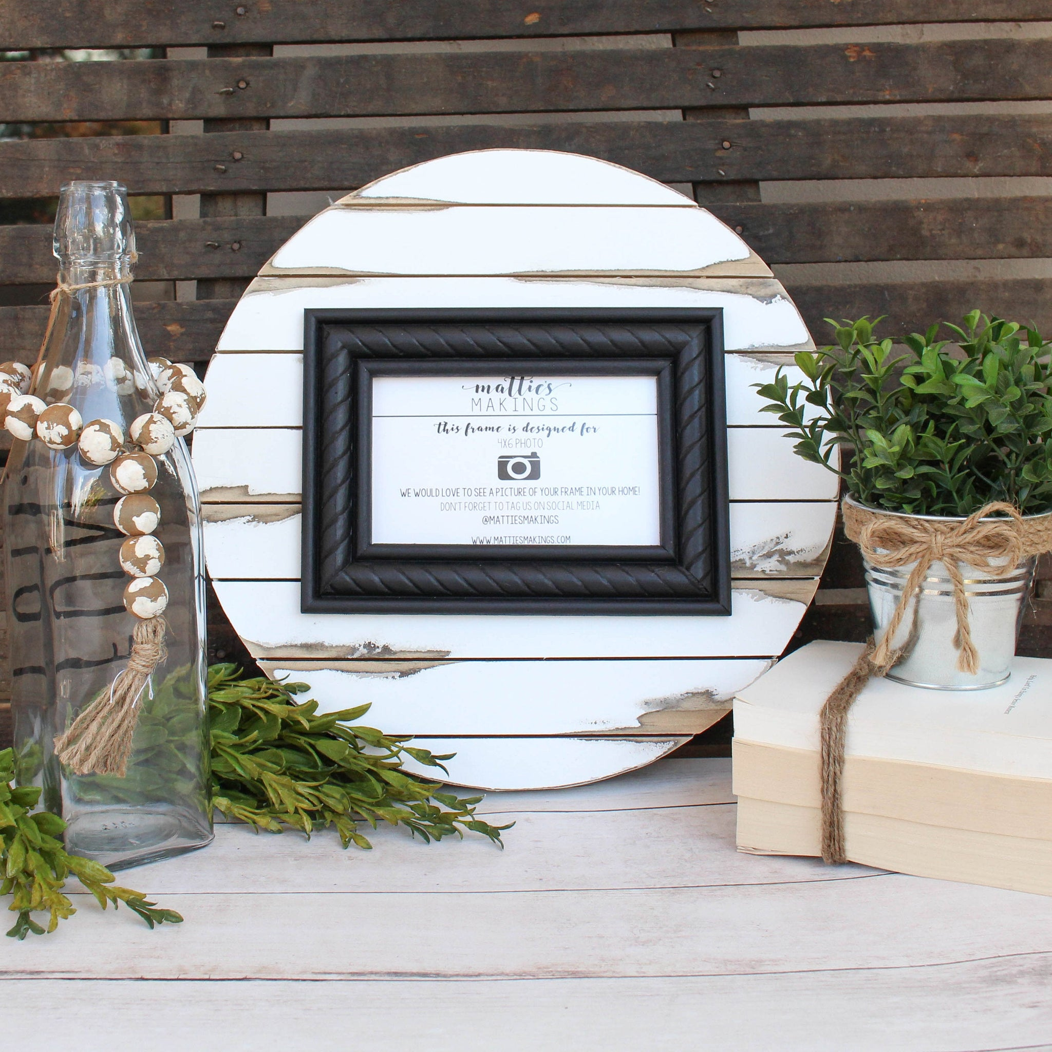 "4x6 (13"" circle), Shiplap Frame, Wood Picture Frame, 5 year anniversary, distressed frame, rustic picture frame, one year anniversary"