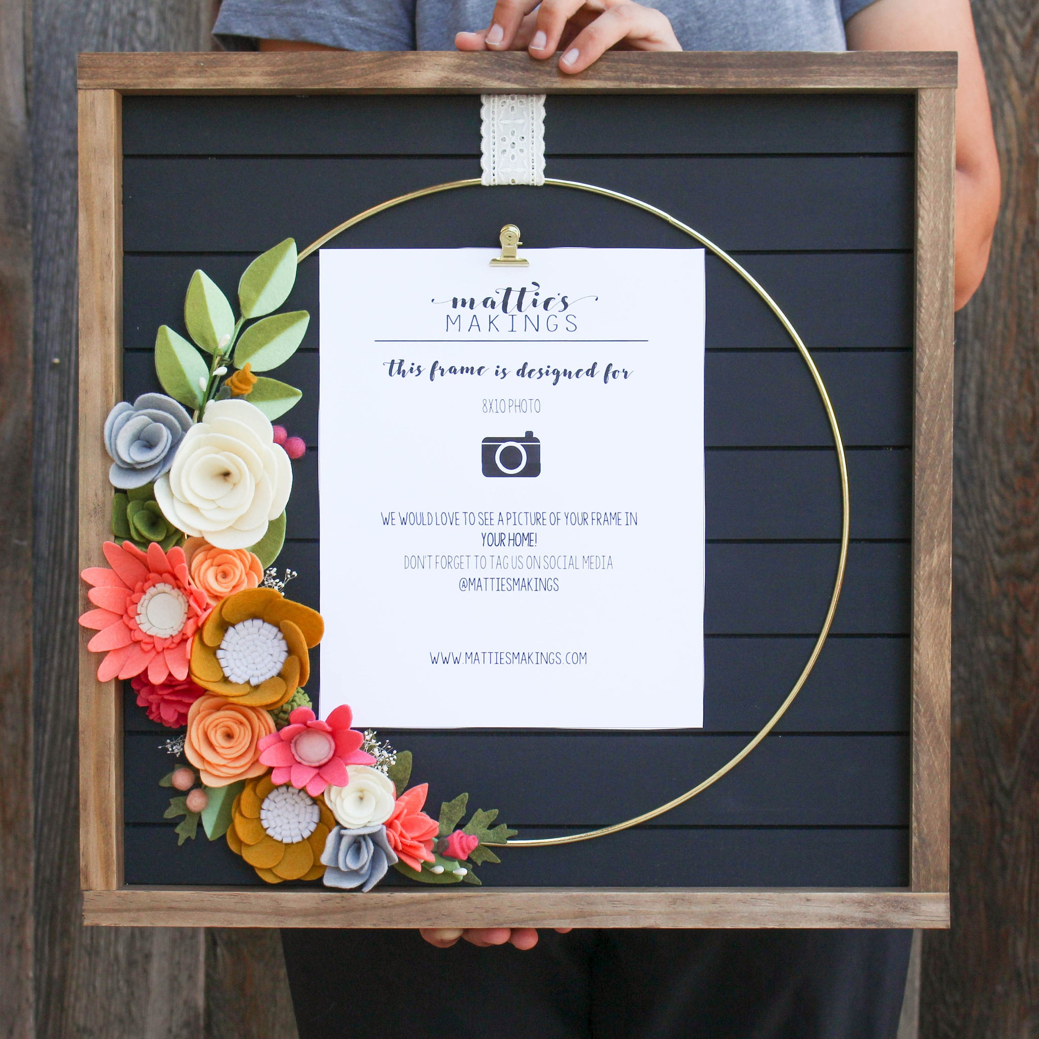 OVERSIZED RING frame, 8x10 picture frame, black shiplap, white shiplap, felt flower picture frame
