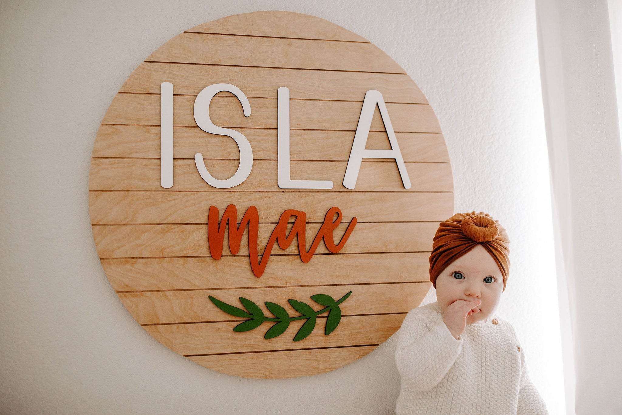 Leaf Style - Round Name Sign, Nursery Decor, Above the Crib, Modern Baby Decor, Wood Name Sign, Custom Wood Cutout