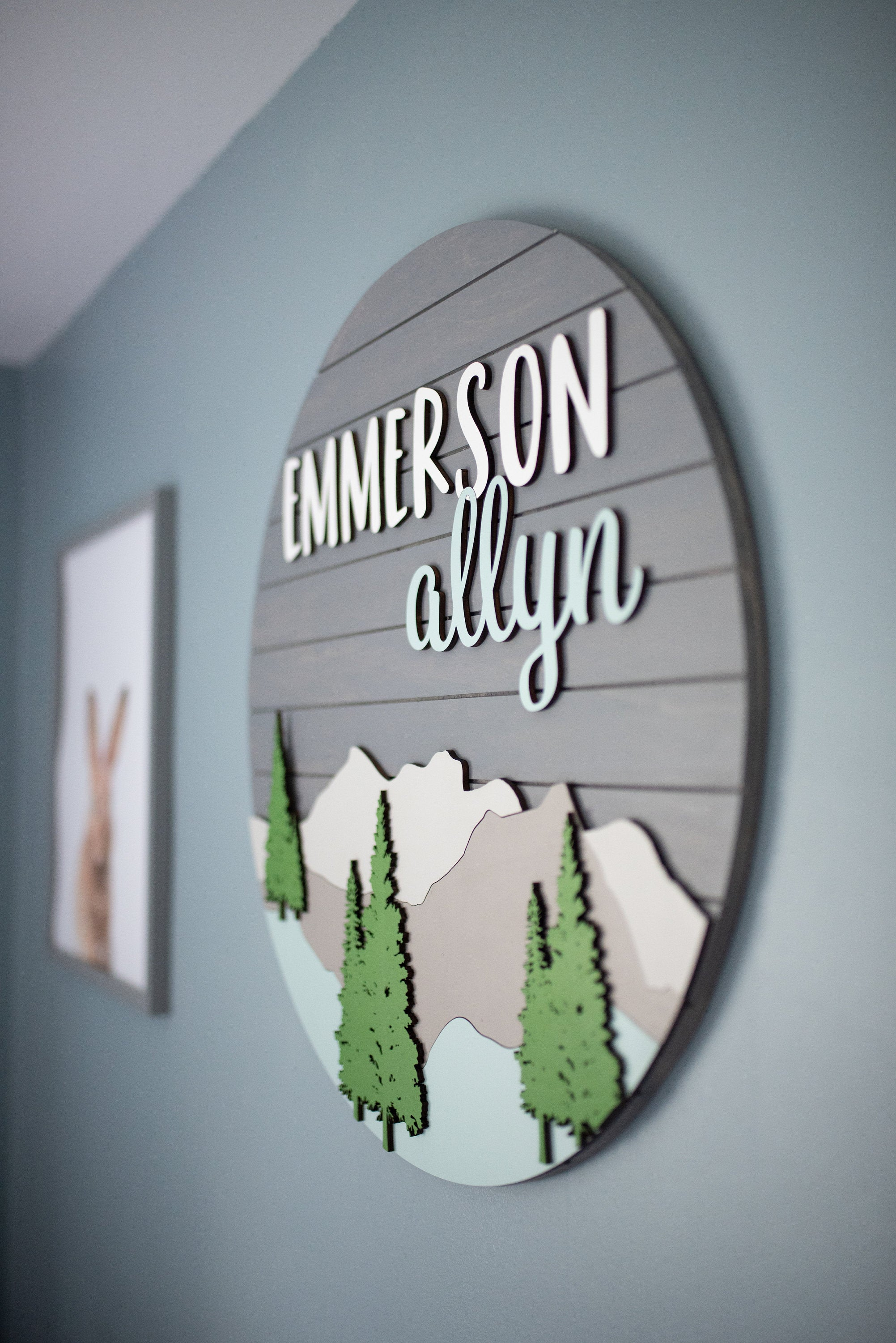 Mountain Style - Round Name Sign, Woodland Nursery, Adventure Nursery, Mountain Nursery, Name Cutout Sign,