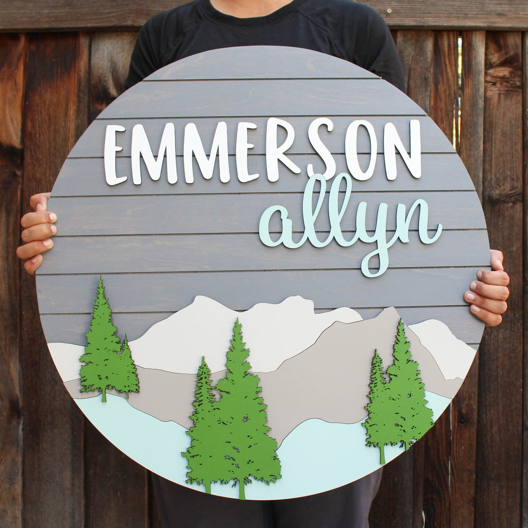Mountain Style - Round Name Sign, Woodland Nursery, Adventure Nursery, Mountain Nursery, Name Cutout Sign, Woodland theme, toddler bedroom