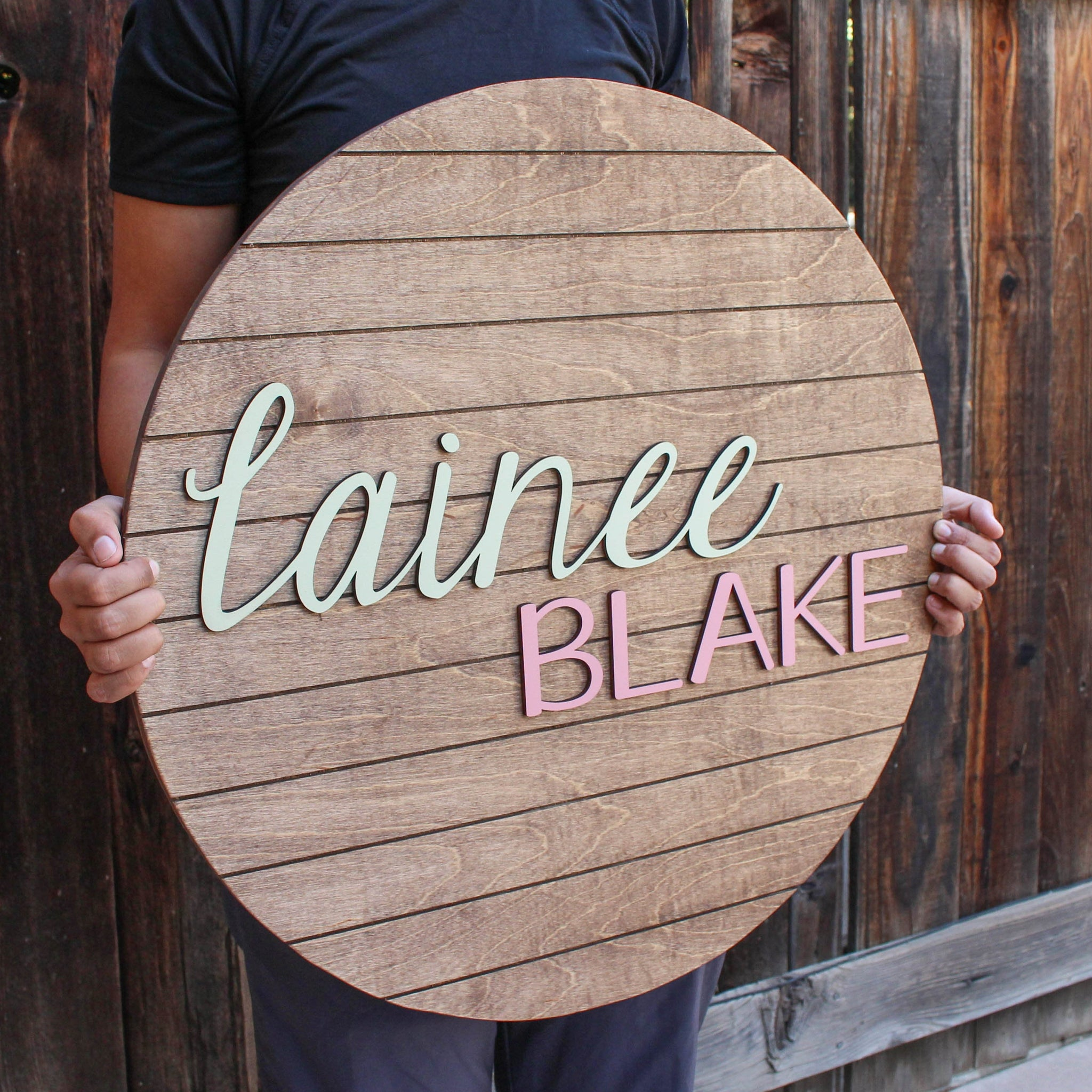 Standard Name Sign - First & Middle Name, Round Name Sign, Nursery Decor, Shiplap Sign, Custom Name Cutout, Baby Name Sign