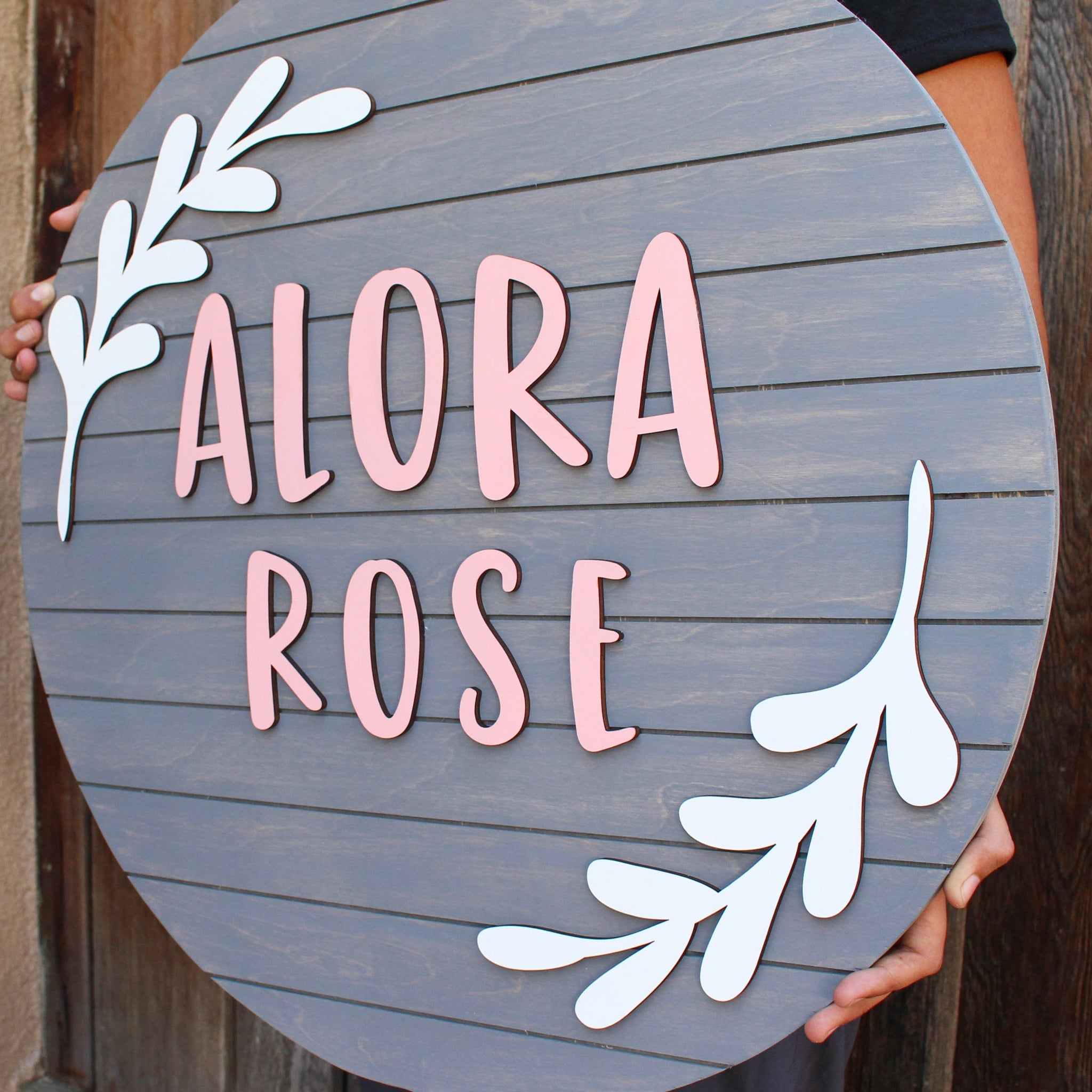 Leaf Style - Round Name Sign, Wood Baby Name, Nursery Name Cut Out, Nursery Name Sign, Name Wood Sign