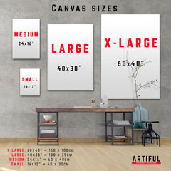 Artiful canvas sizes