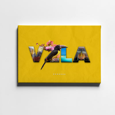 Artiful VZLA Folklore Letters Canvas Art - Yellow