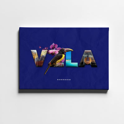 Artiful VZLA Folklore Letters Canvas Art - Blue