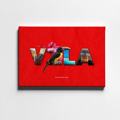 Artiful VZLA Folklore Letters Canvas Art - Red